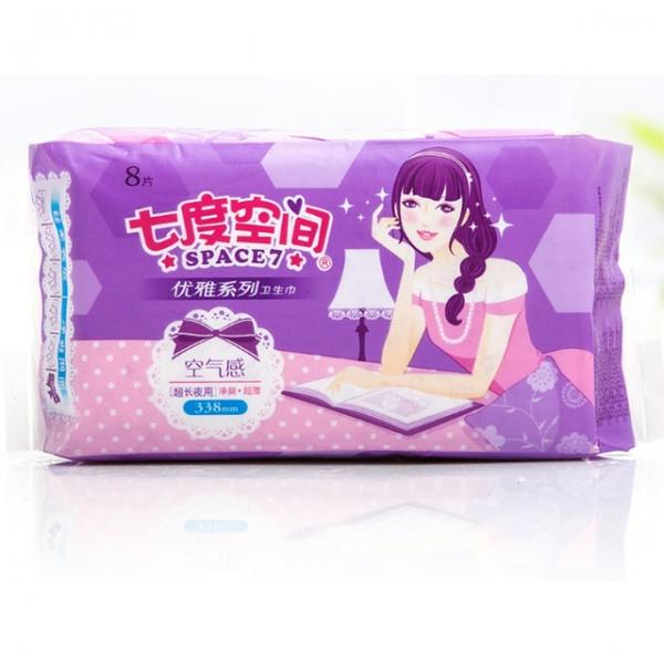 速爽网面薄型超长夜用卫生巾